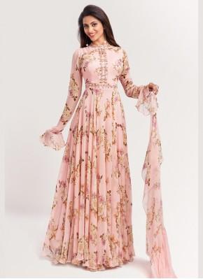 Fashionable Chiffon Flower Print Peach Bollywood Style Salwar Kameez