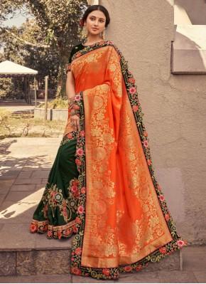Fashionable Fancy Fabric Designer Half N Half Saree