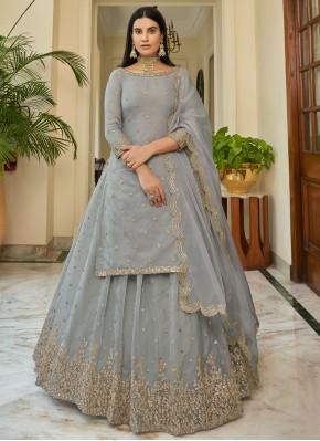 Fashionable Grey Bollywood Lehenga Choli