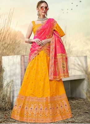 Fashionable Mustard Embroidered Banarasi Silk A Line Lehenga Choli