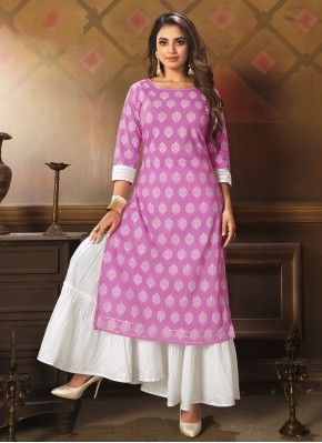 Fashionable Printed Lavender Cotton Party Wear Kurti