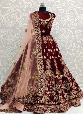 Fashionable Resham Bridal A Line Lehenga Choli