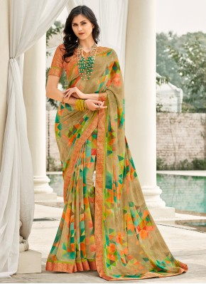 Fashionable Weight Less Abstract Print Casual Saree
