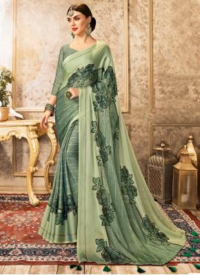Faux Chiffon Abstract Print Printed Saree in Green