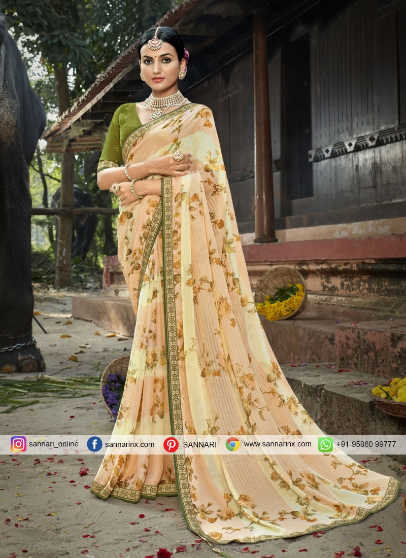 Faux Chiffon Abstract Print Printed Saree in Multi Colour