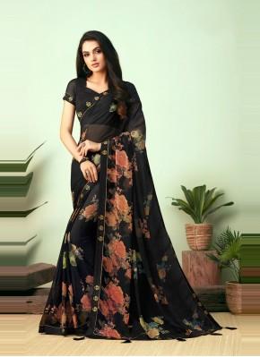 Faux Chiffon Black Floral Print Casual Saree