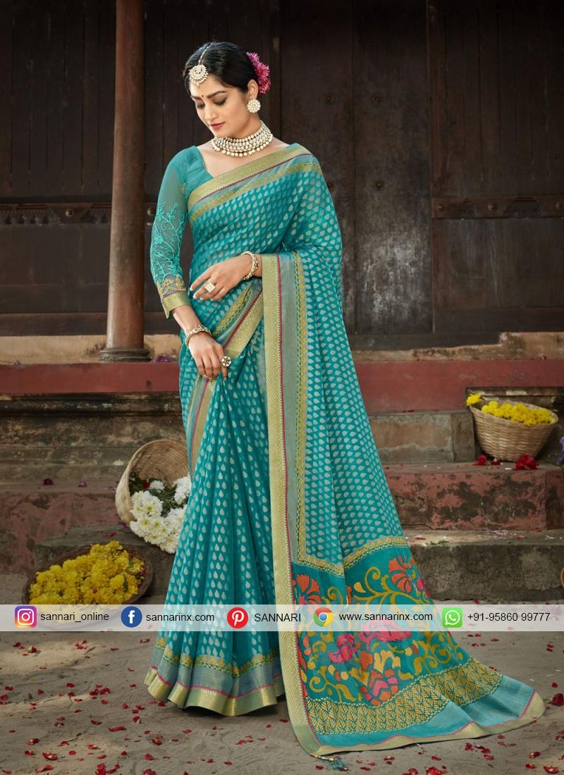 Faux Chiffon Blue Printed Saree