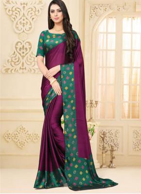 Faux Chiffon Border Saree in Purple