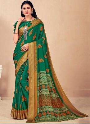 Faux Chiffon Classic Saree in Green