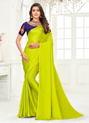 Faux Chiffon Diamond Classic Designer Saree in Green