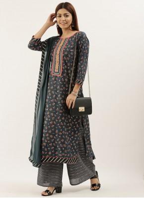 Faux Chiffon Embroidered Grey Designer Pakistani Salwar Suit