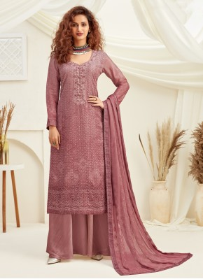 Faux Chiffon Embroidered Pink Designer Palazzo Suit