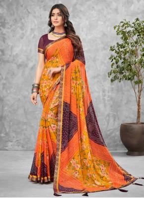 Faux Chiffon Multi Colour Printed Saree
