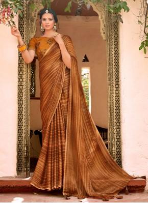 Faux Chiffon Printed Saree in Multi Colour