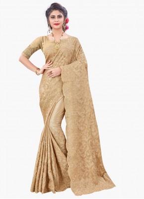 Faux Chiffon Resham Beige Designer Saree