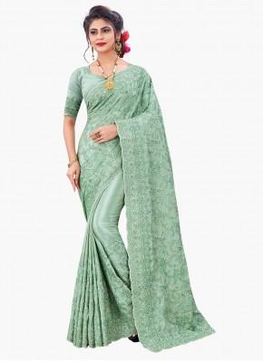 Faux Chiffon Sea Green Embroidered Designer Saree
