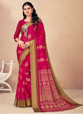 Faux Chiffon Woven Classic Saree in Pink