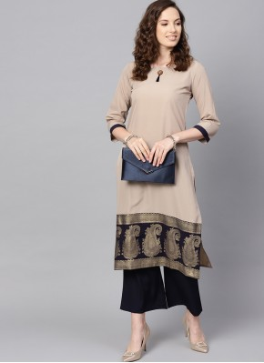 Faux Crepe Abstract Print Casual Kurti in Beige