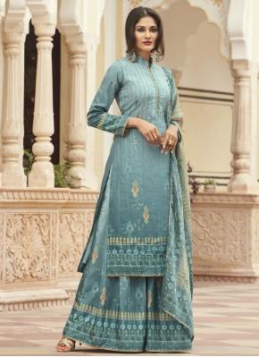 Faux Crepe Blue Print Designer Palazzo Salwar Suit
