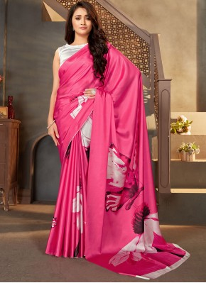 Faux Crepe Casual Saree in Hot Pink
