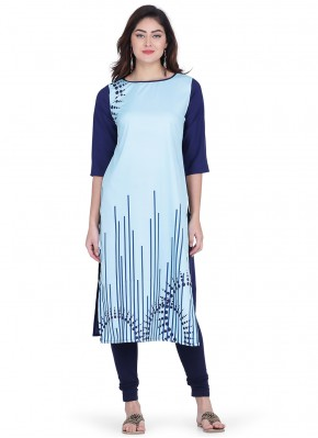 Faux Crepe Print Party Wear Kurti in Blue
