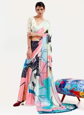 Faux Crepe Print Printed Saree in Multi Colour