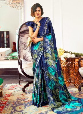 Faux Crepe Traditional Saree in Blue