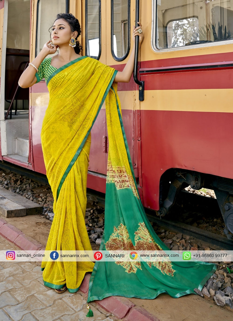 Faux Georgette Abstract Print Printed Saree in Yellow