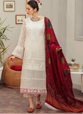 Faux Georgette Designer Pakistani Suit in Off White