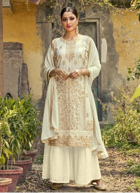 Faux Georgette Designer Palazzo Suit in Off White