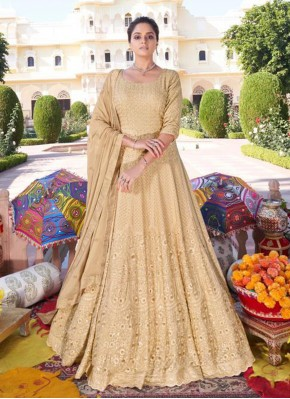 Faux Georgette Embroidered Beige Readymade Anarkali Suit