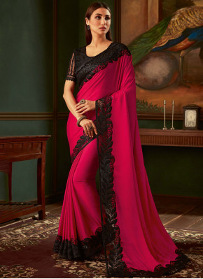 Faux Georgette Embroidered Black and Magenta Trendy Saree