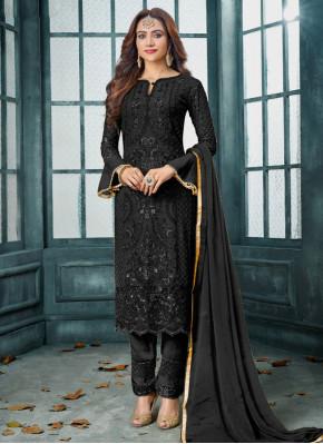 Faux Georgette Embroidered Black Designer Salwar Kameez