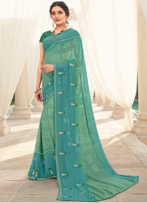 Faux Georgette Embroidered Blue and Sea Green Shaded Saree