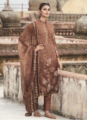 Faux Georgette Embroidered Brown Designer Pakistani Suit