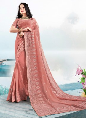 Faux Georgette Embroidered Classic Saree in Peach
