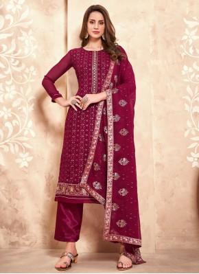 Faux Georgette Embroidered Designer Pakistani Salwar Suit in Magenta