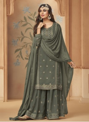 Faux Georgette Embroidered Grey Designer Palazzo Salwar Suit