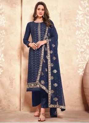 Faux Georgette Embroidered Navy Blue Designer Pakistani Suit