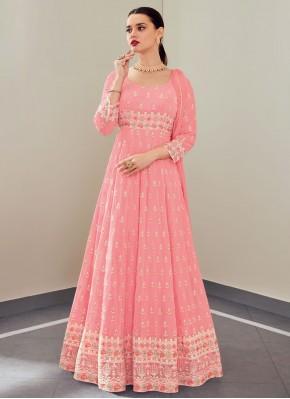 Faux Georgette Embroidered Pink Floor Length Anarkali Suit