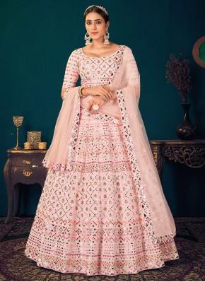 Faux Georgette Embroidered Pink Lehenga Choli