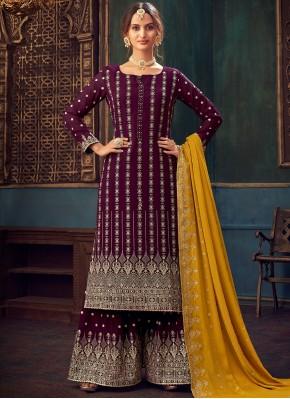 Faux Georgette Embroidered Wine Designer Pakistani Suit