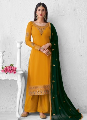 Faux Georgette Embroidered Yellow Designer Palazzo Suit