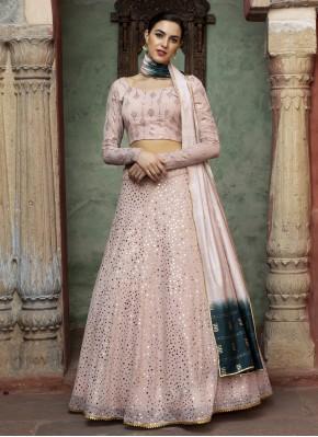 Faux Georgette Fancy Pink Lehenga Choli