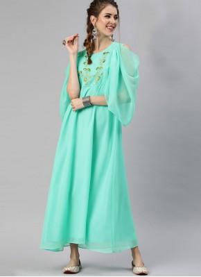 Faux Georgette Fancy Sea Green Party Wear Kurti