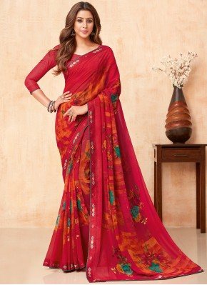 Faux Georgette Floral Print Casual Saree in Red