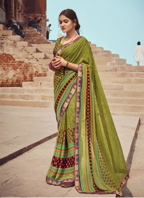 Faux Georgette Floral Print Green Casual Saree