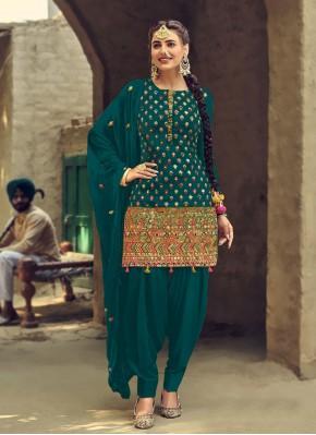Faux Georgette Green Patiala Suit