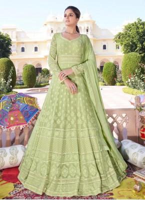 Faux Georgette Green Readymade Anarkali Suit