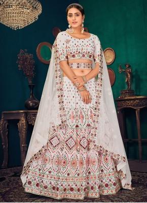 Faux Georgette Lehenga Choli in White